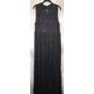 Forever 21+ Long Black Lace Overlay Dress